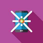 Vector icon or illustration showing mobile advertise in flat design