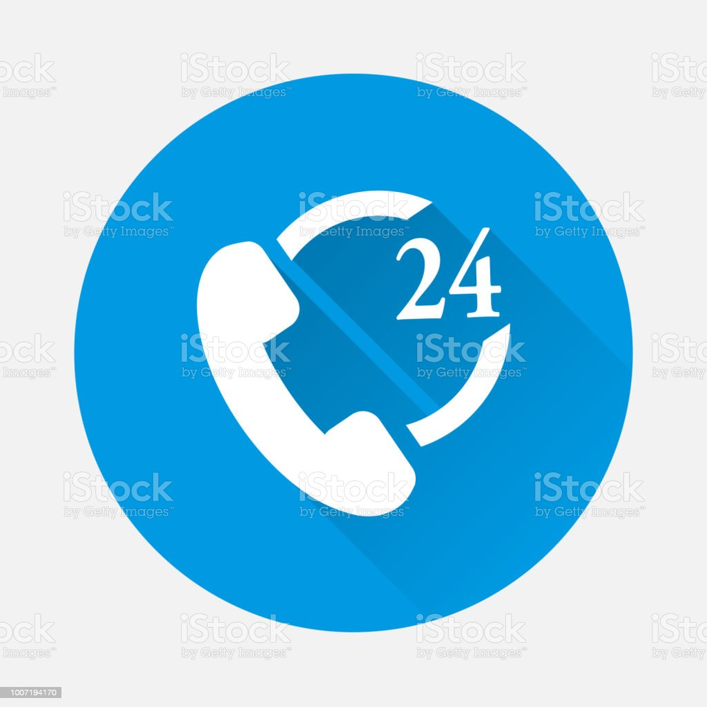 Vector Icon Phone Support 24 Hour On Blue Background Flat