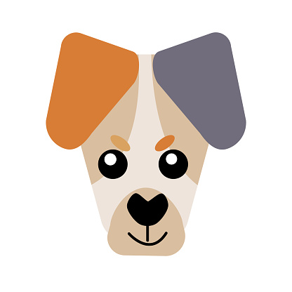 Vector icon portrait of a small dog drawn in the style of flat. Cute YJack Russell Terrier dog logo. Vector illustration in cartoon style. Toy dog