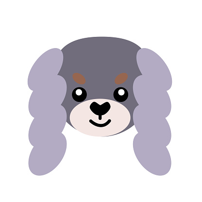 Vector icon portrait of a small dog drawn in the style of flat. Cute Pekingese dog logo. Vector illustration in cartoon style. Toy dog