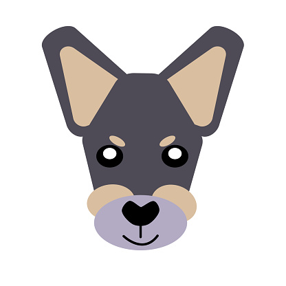 Vector icon portrait of a small dog drawn in the style of flat. Cute Toy Terrier dog logo. Vector illustration in cartoon style. Toy dog