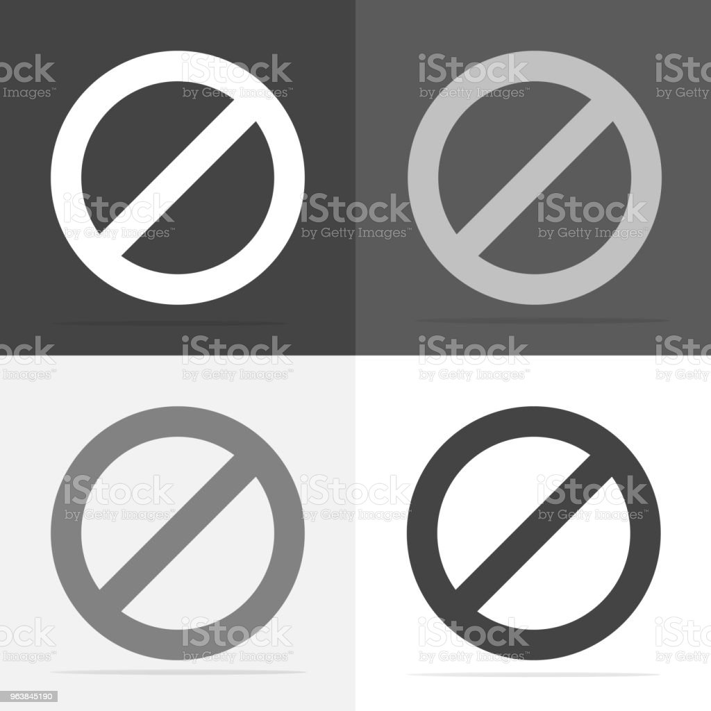 Vector icon prohibiting sign. Impossible. Stop and ban sign. Vector white icon on  white-grey-black color - Royalty-free Advice stock vector