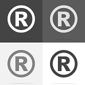 Vector icon Registered Sign.  Set of registered sign icon on white-grey-black color.
