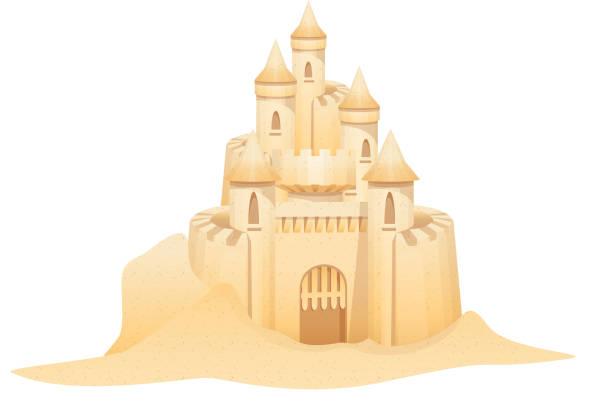 illustrations, cliparts, dessins animés et icônes de vecteur icône de château de sable - chateau de sable
