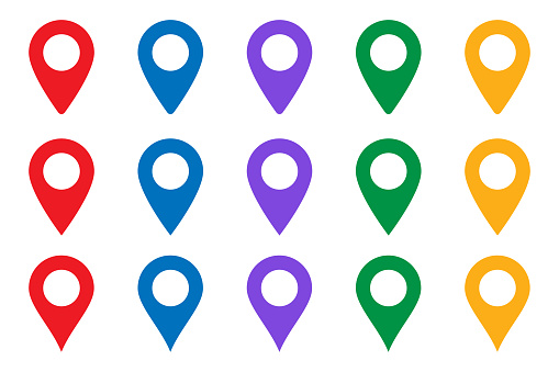 Vector icon search map. location place - Map pointer icon. GPS location symbol - Map pin. Map pointer icon. GPS location.