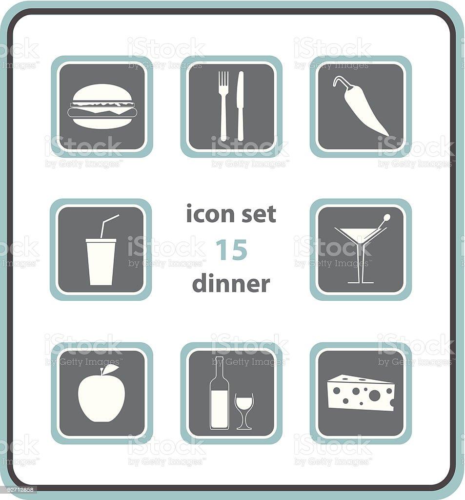 vector icon set 15: dinner royalty-free stock vector art