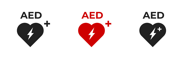 AED vector icon set. Emergency defibrillator icons. AED AID CPR sign symbol on white backdround.