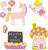 Vector icon set fairy, flowers ,mushroom fairy house, unicorn, window with Believe in Magic quote. Children clip art. Fairytale icons for Kids decor, Back to school, wall stickers, kids birthday.