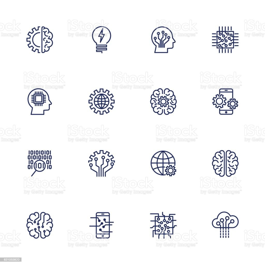 Vector icon set for artificial intelligence concept. Various symbols for the topic AI using flat design vector art illustration