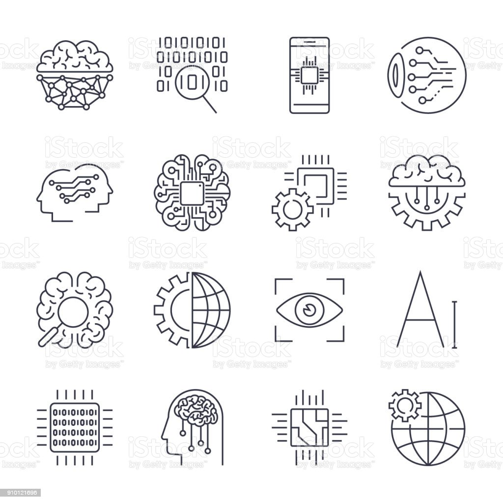 Vector icon set for artificial intelligence (AI) concept. Various symbols for the topic using flat design. Editable Stroke vector art illustration
