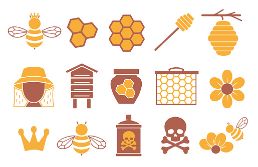 Vector icon set for creating infographics related to bees, pollination and beekeeping like honey jar, flower and honeycomb
