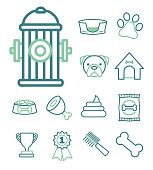 Vector icon set for creating infographics related to dogs, like hydrant, dog kennel, food or paw print