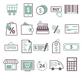 Vector icon set for creating inforaphics related to online shopping, sale and commerce, including shopping cart, mobile phone, buy button, price tag