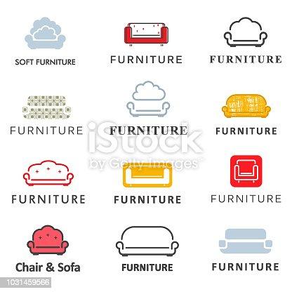 Vector icon set for furniture store. Sofa design element