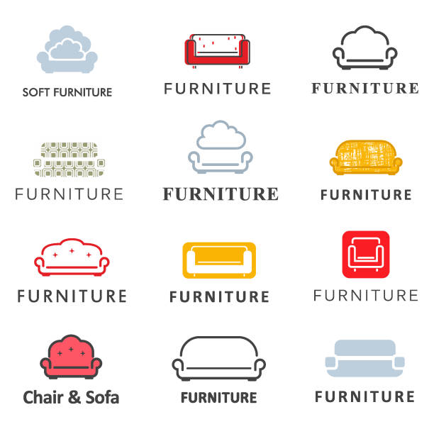 Vector icon set for furniture store. Sofa design element Vector icon set for furniture store. Sofa design element interior designer stock illustrations