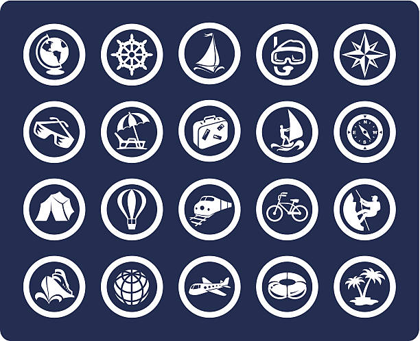 Vector icon set for travel and vacation vector art illustration