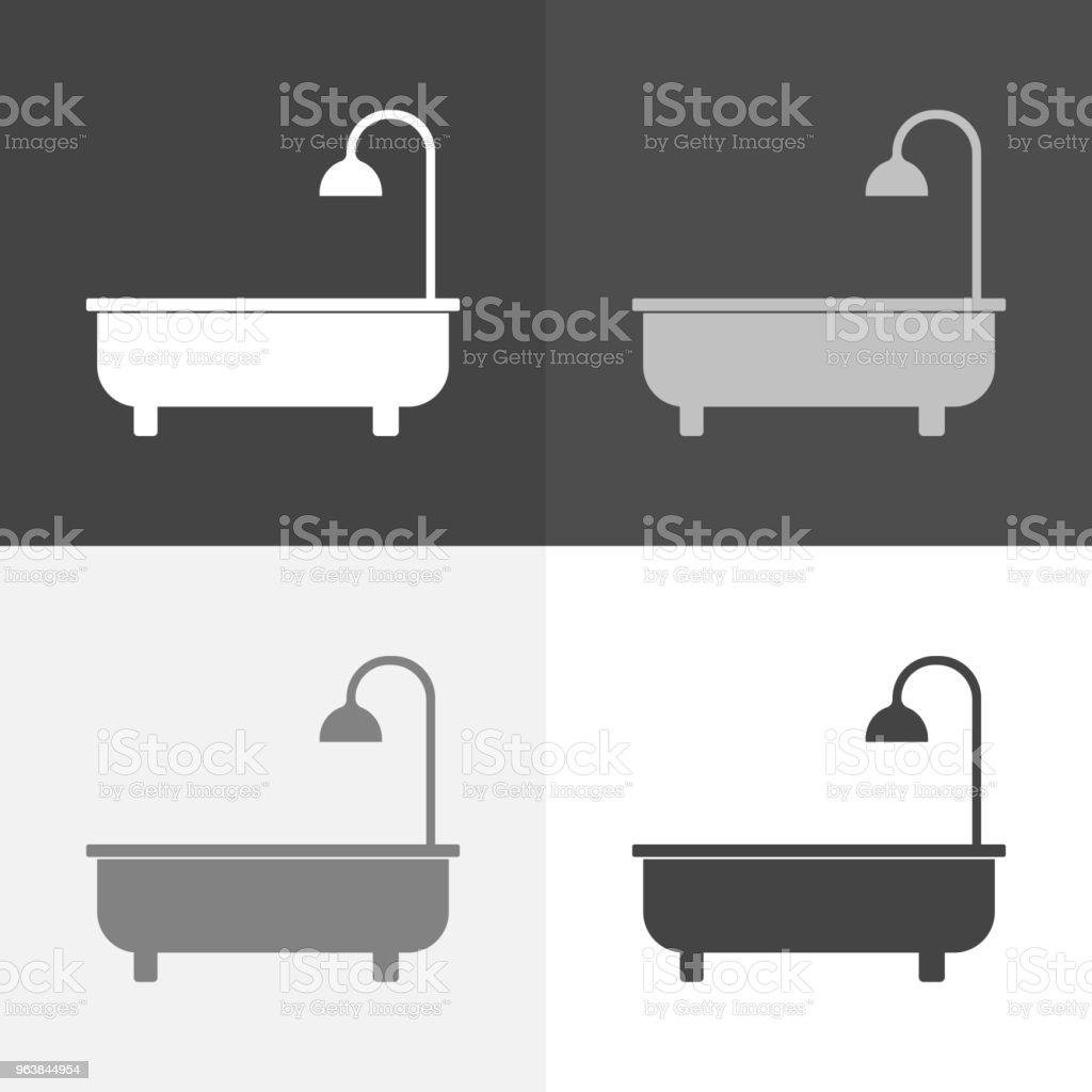 Vector icon set of bath and shower. Vector white icon on white-grey-black color - Royalty-free Art stock vector