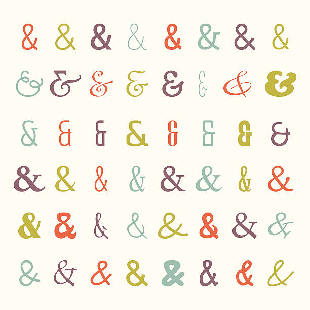 Vector icon set of colored ampersands vector art illustration