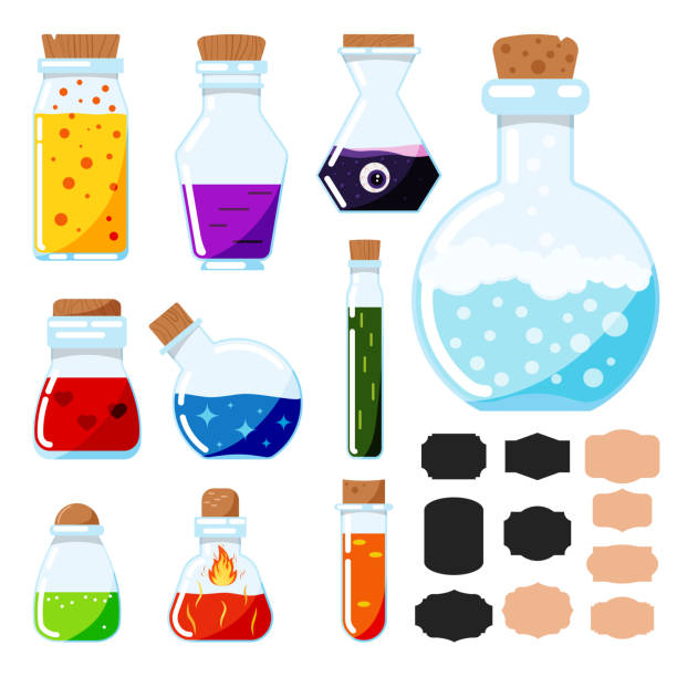 Vector icon set of flat design cartoon style magic potions, glass magical tubes with label stickers isolated on white background. Vector icon set of flat design cartoon style magic potions, glass magical tubes with label stickers isolated on white background. Bottles with colorful liquid. Game icon of magic elixir. potion stock illustrations