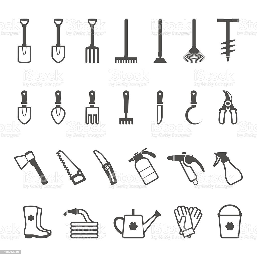 Vector icon set of garden tools vector art illustration