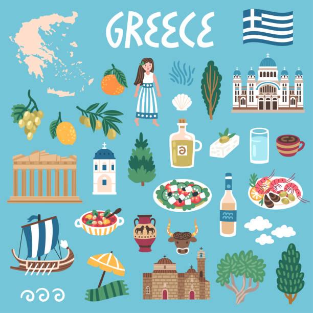 ilustrações de stock, clip art, desenhos animados e ícones de vector icon set of greece's symbols. travel illustration with greek landmarks, people,traditional food, building. - mediterranean food
