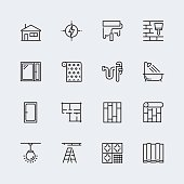 Vector icon set of home decorating,overhaul and repair in thin line style