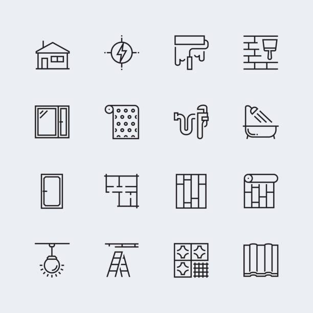 Vector icon set of home decorating,overhaul and repair in thin line style Vector icon set of home decorating,overhaul and repair in thin line style renovation stock illustrations