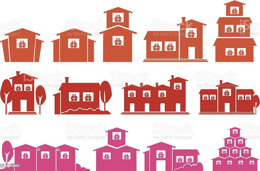 Vector Icon Set of Houses and Homes vector art illustration