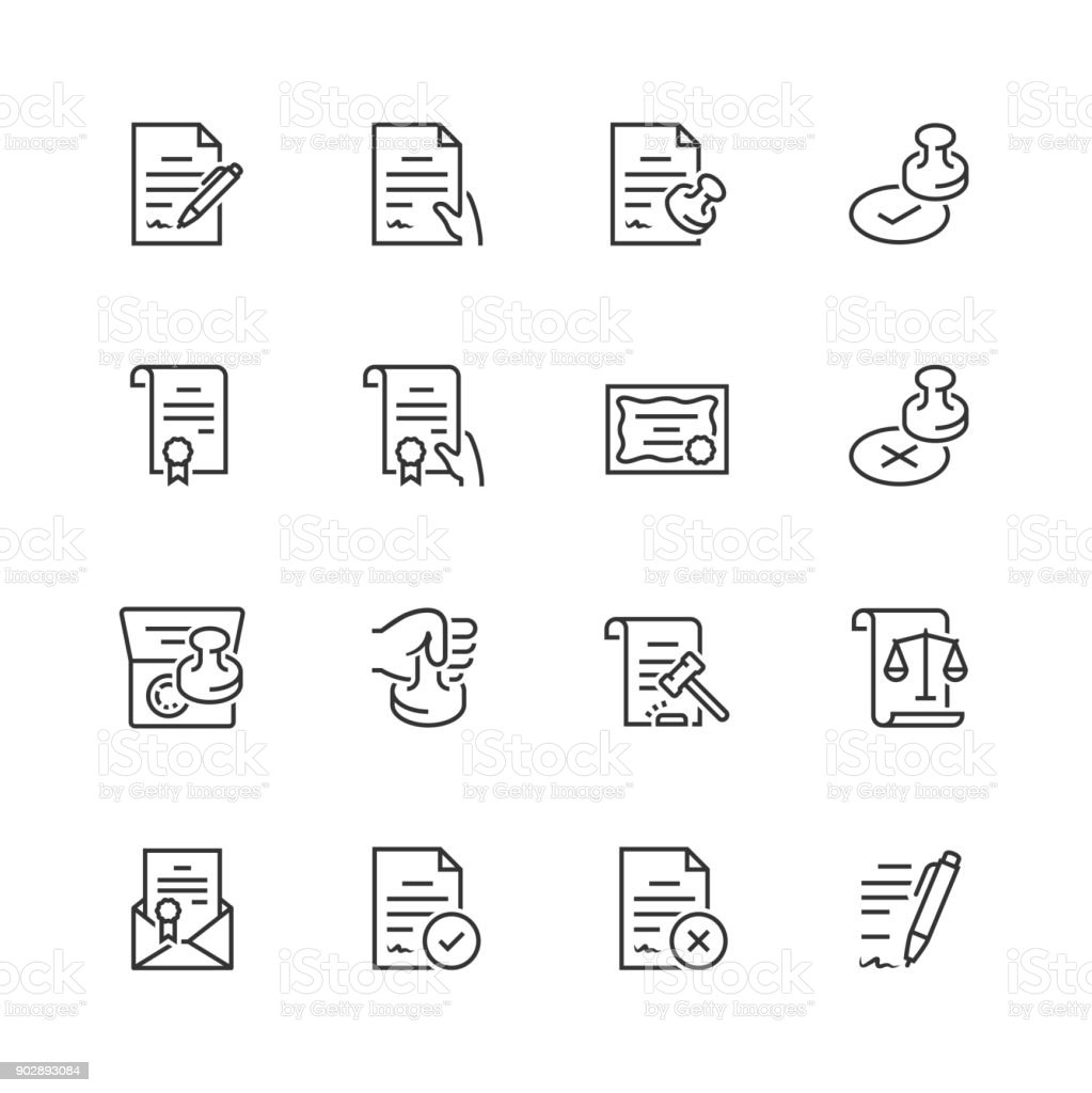Vector icon set of legal documents in thin line style vector art illustration