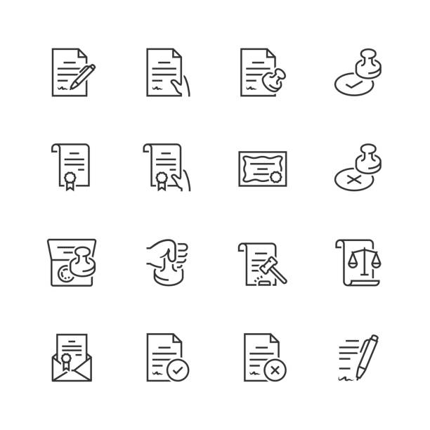 vector icon set of legal documents in thin line style - autorytet stock illustrations