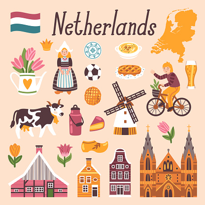 Vector icon set of Netherlands's symbols. Travel illustration with dutch landmarks, people,traditional holland food, building.