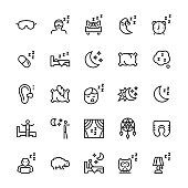 Vector icon set of sleep in line style.