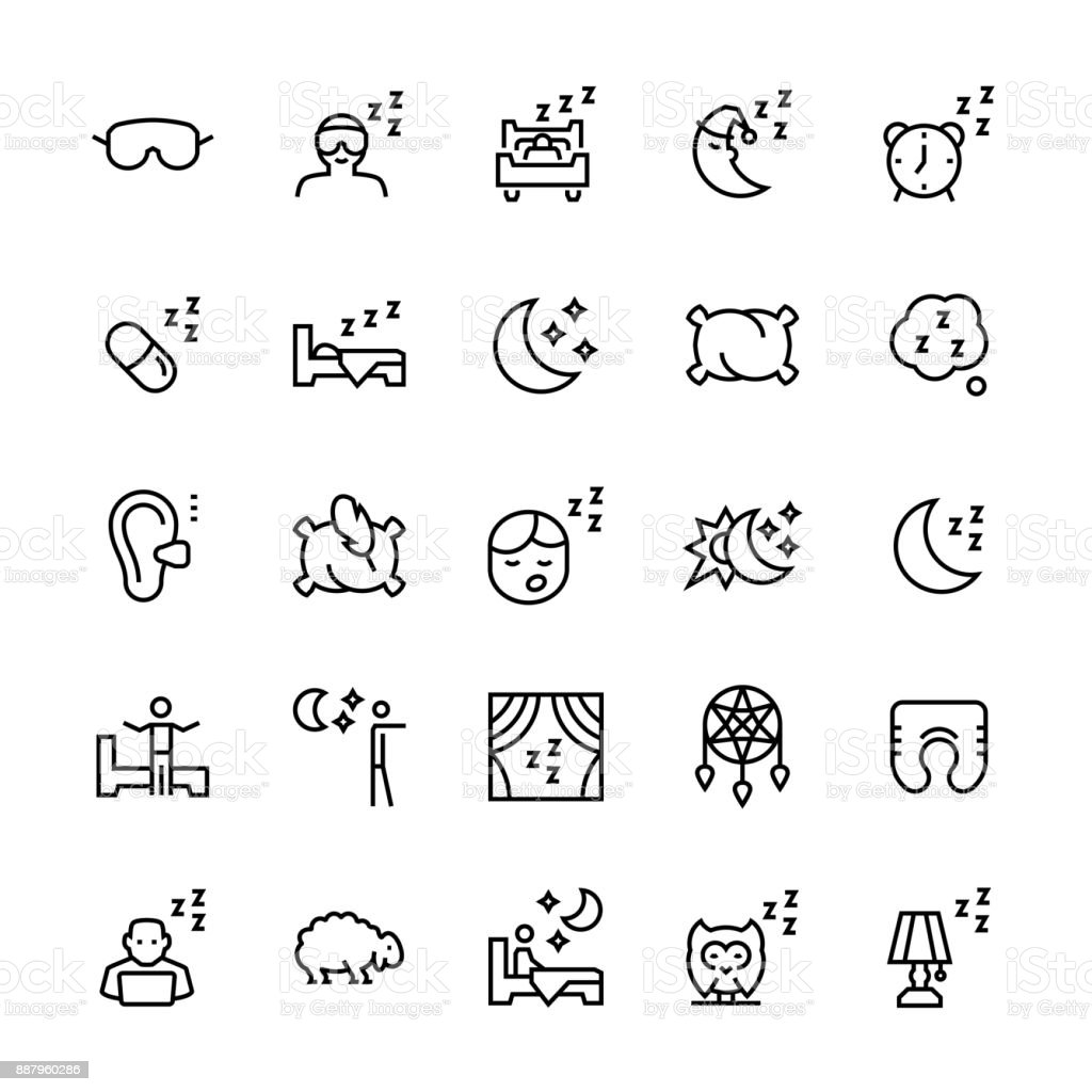 Vector icon set of sleep in line style. vector art illustration
