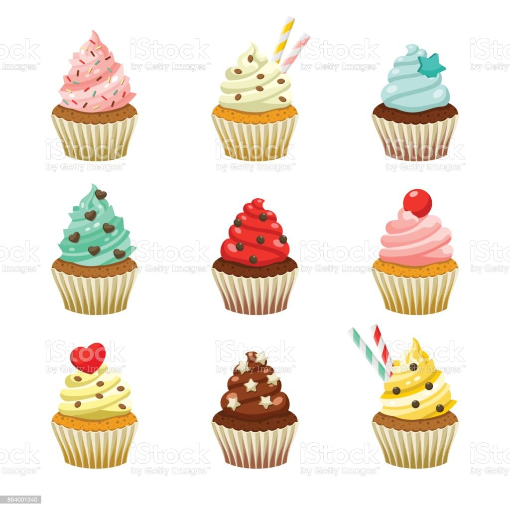 Vector icon set of yummy colored cupcakes vector art illustration