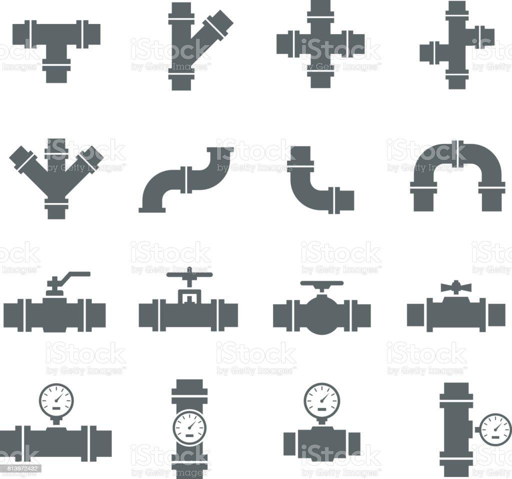Vector icon set pipe parts. vector art illustration