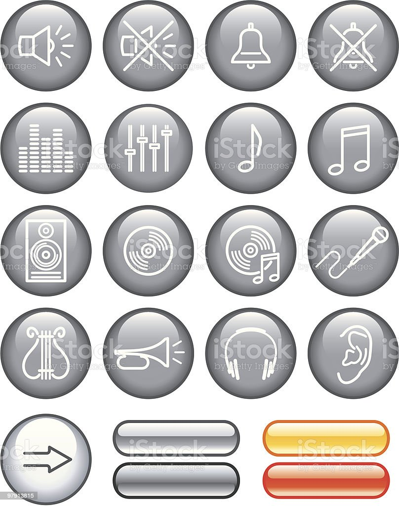 Vector Icon Set - Sound royalty-free vector icon set sound stock vector art & more images of bell