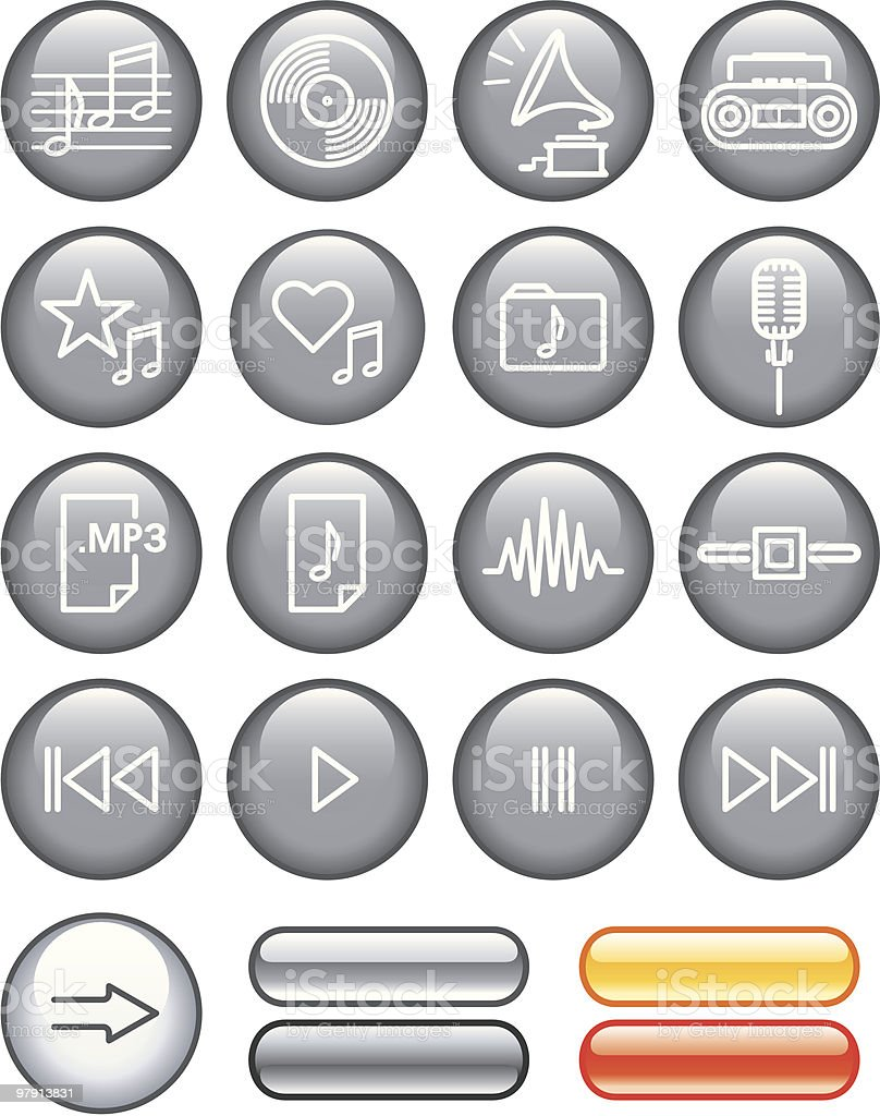 Vector Icon Set - Sound royalty-free vector icon set sound stock vector art & more images of back