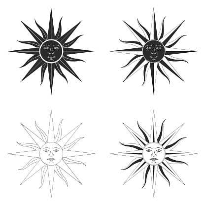 vector icon set with Sun of May ancient symbol of Incan sun god Inti