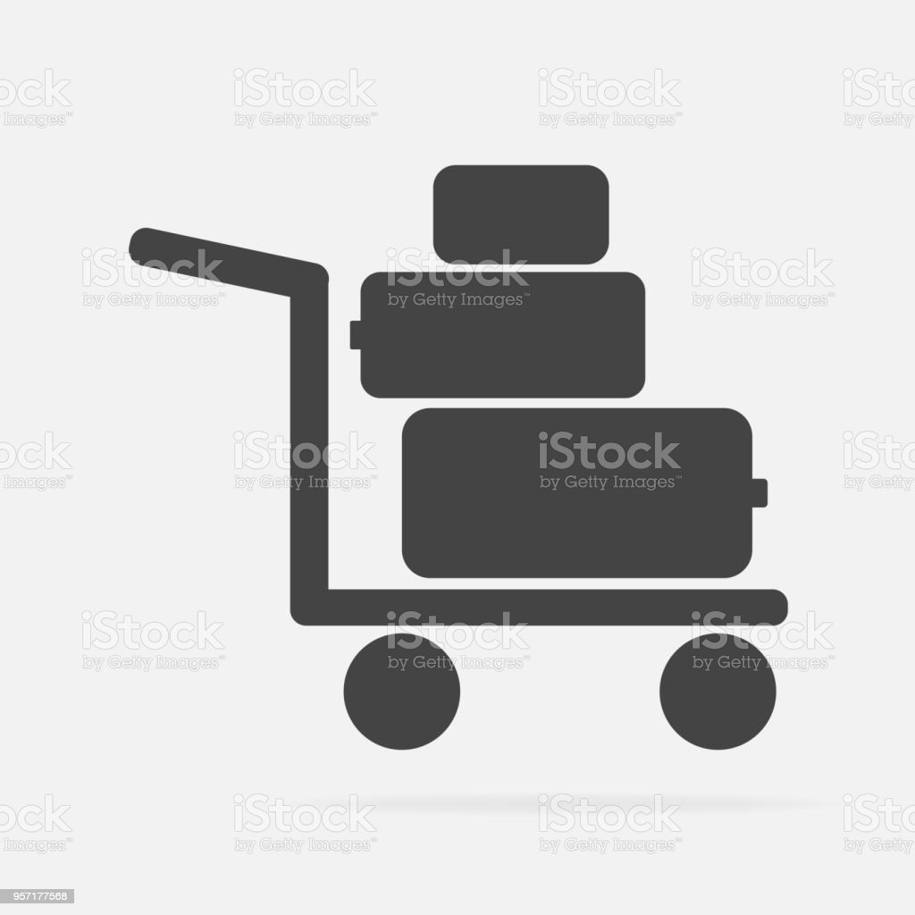 Vector icon shows the presence of porters. Trolley with things, suitcases Vector icon illustration. vector art illustration