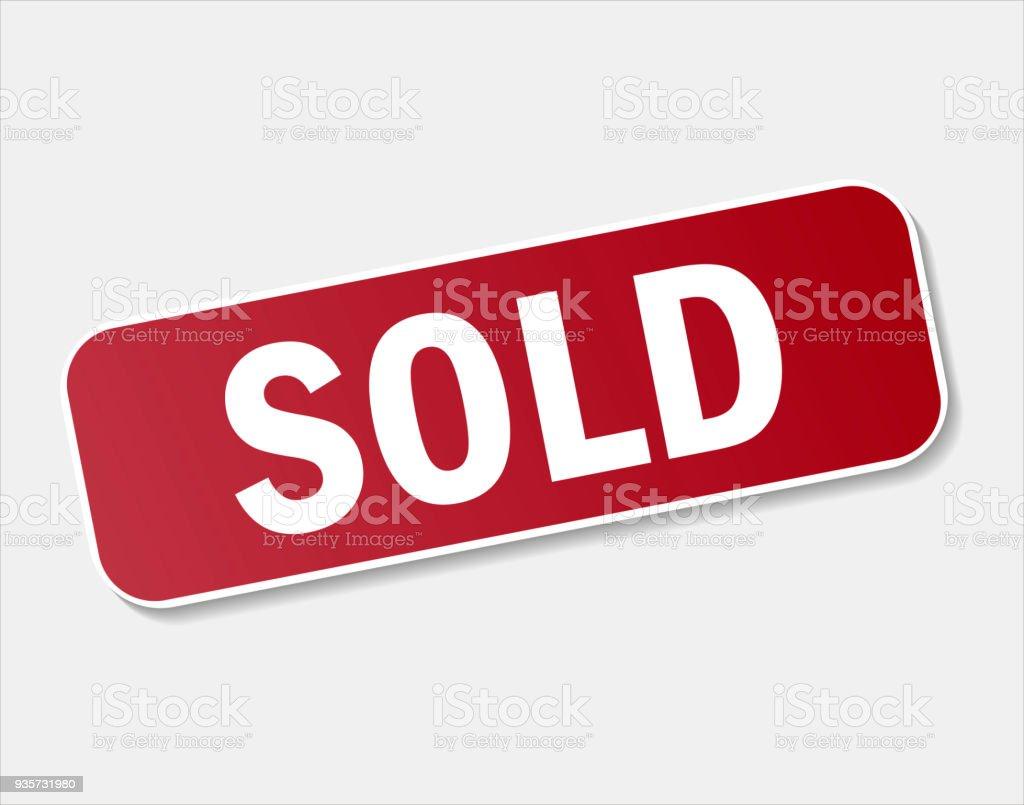 Ícone de vetor vendido selo vermelho. Vendeu a ilustração vetorial no fundo cinza - ilustração de arte em vetor