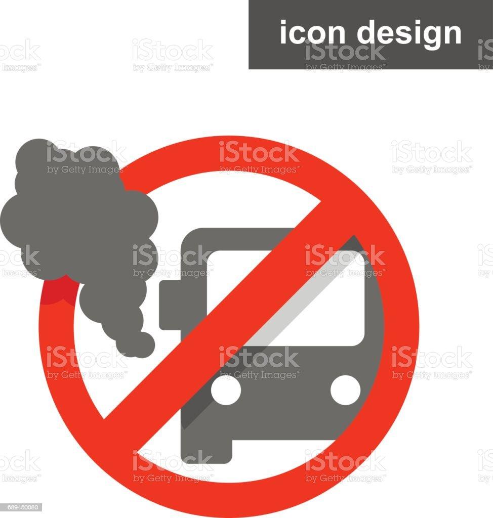 Vector icon sticker stop vehicle pollution vector art illustration