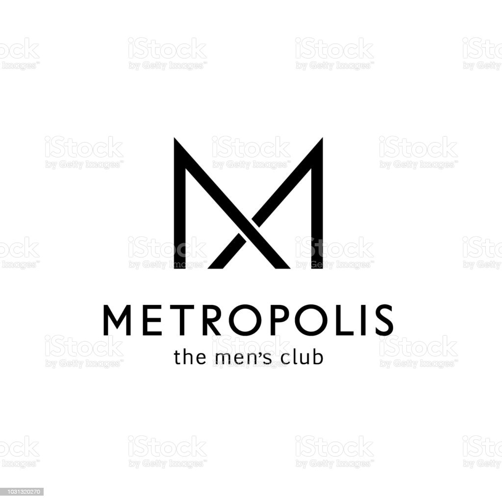 Vector icon template for men's club. Letter m in the form of a bow tie. Men sign vector art illustration