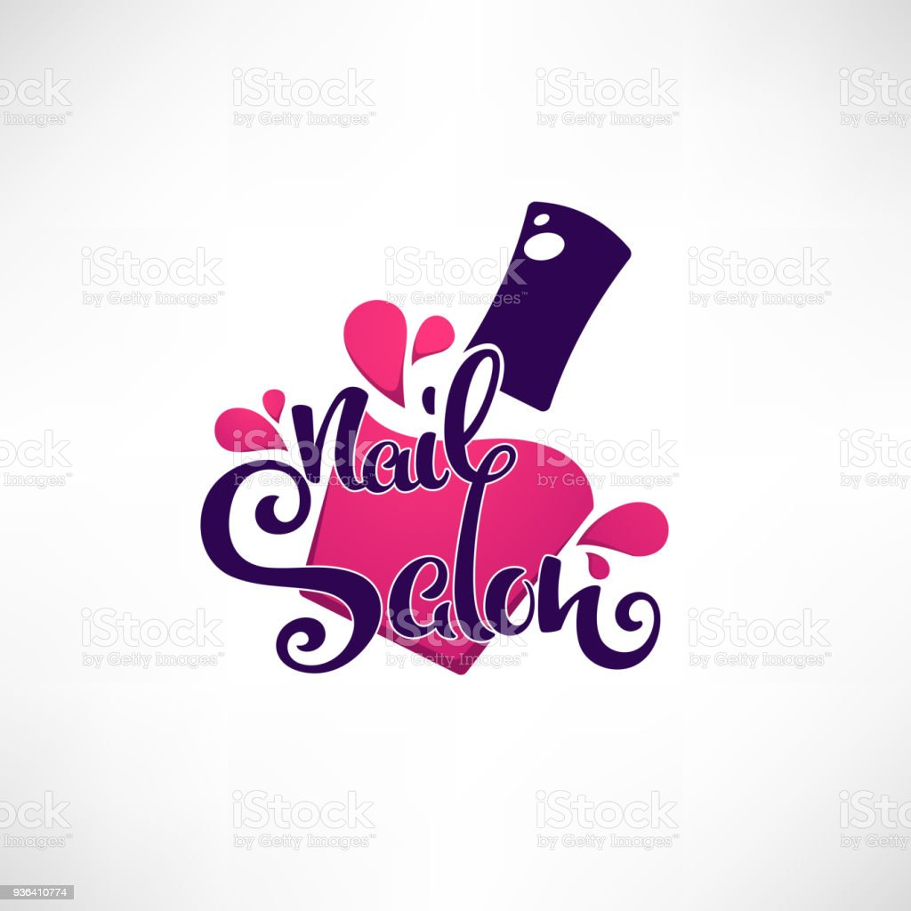 Vector Icon Template For Your Nail Studio And Manicure Salon With Lettering Composition Royalty Free