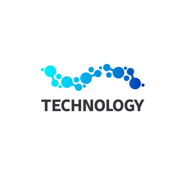 Vector icon template. High technology. Nano technology Vector icon template. High technology. blue symbols stock illustrations
