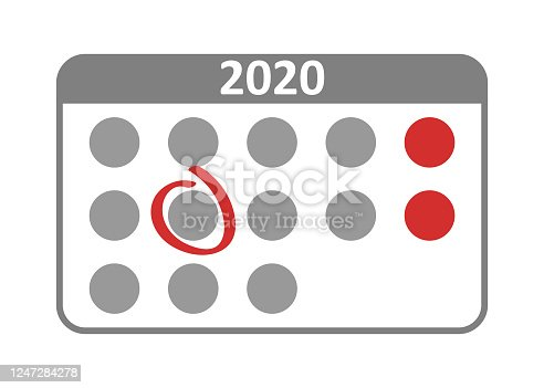 istock Vector icon, wall calendar in flat style. Important date concept. 1247284278
