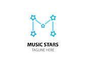 Music stars. icon with constellation of letter M. Vector emblem with caption in EPS 10.