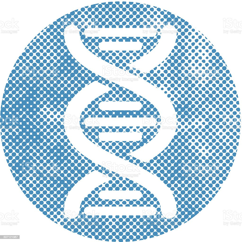 DNA vector icon with pixel print halftone dots texture. royalty-free stock vector art