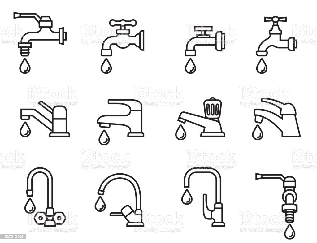 vector icon-illustration of the faucet with water drop. Tap sign. Bathroom symbol. Line Style stock vector. vector art illustration