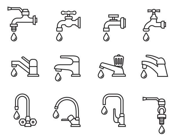 벡터 아이콘-일러스트 레이 션 물 드롭 수도 꼭지의. 로그인을 누릅니다. 욕실 기호입니다. 선 스타일 재고 벡터입니다. - 개수대 stock illustrations