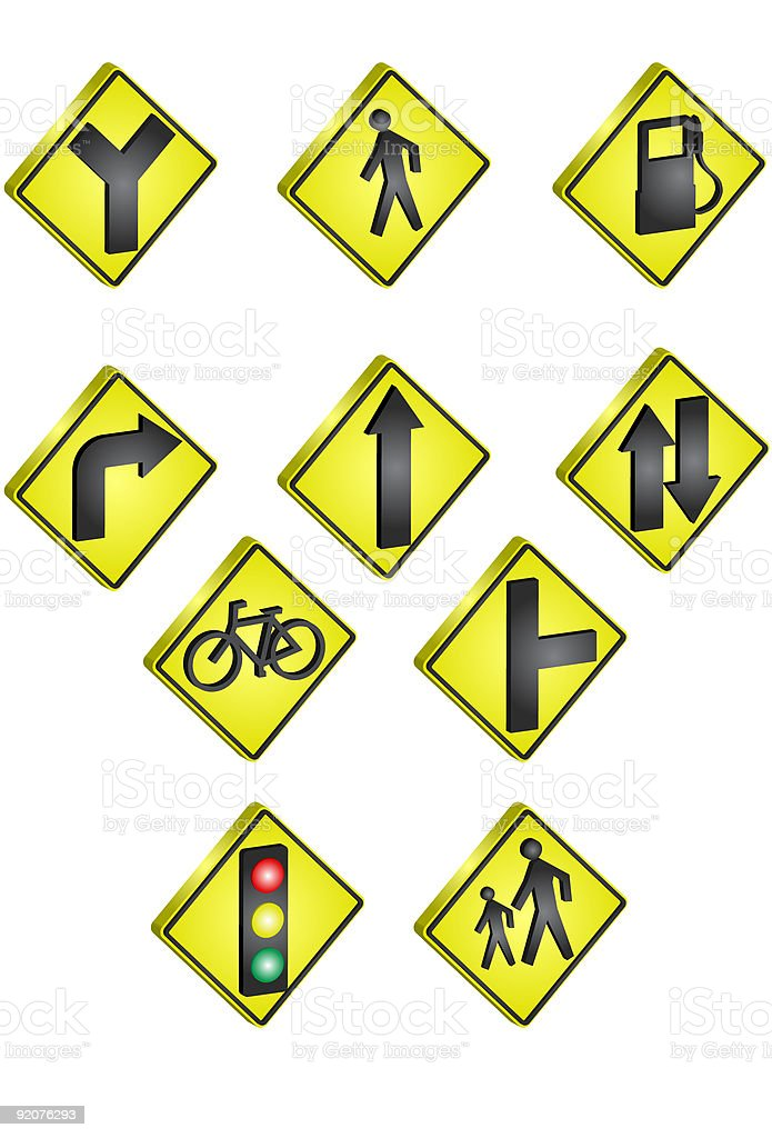 Vector icons 3D Traffic Signs royalty-free vector icons 3d traffic signs stock vector art & more images of arrow symbol